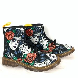 Sugar Skull Day Of The Dead Red Rose Army Boots